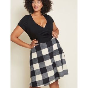NWOT MODCLOTH Admired All Over Dress Black Plaid